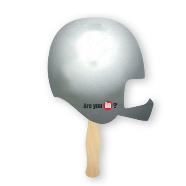 Imprinted Fan - Stock Shape Helmet Hand Fan, Sandwich Style