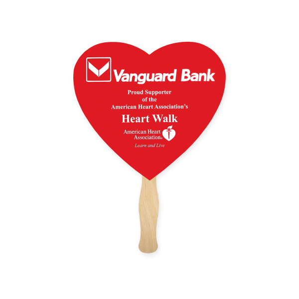 Personalized Fan - Stock Shape Heart Hand Fan, Sandwich Style
