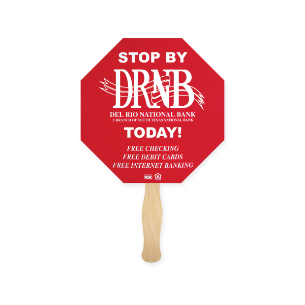 Customized Fan - Stock Shape Stop Sign Hand Fan