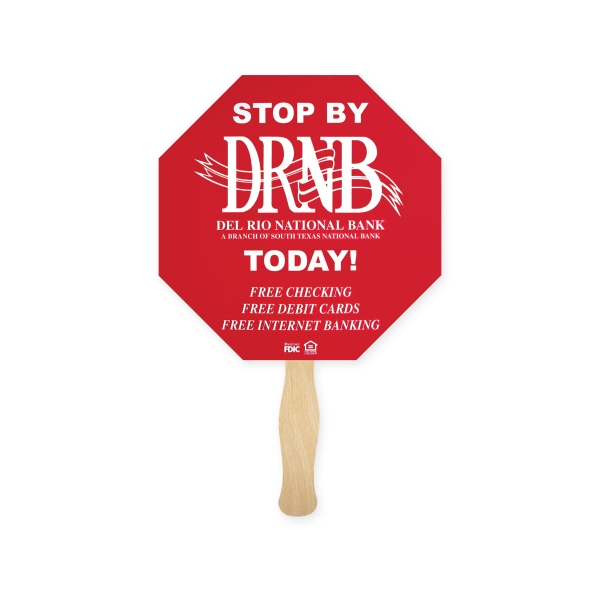 Custom Stock Shape Stop Sign Hand Fan, Sandwich Style