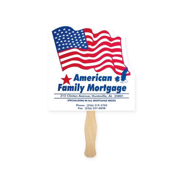 Imprinted Fan - Stock Shape Flag Hand Fan