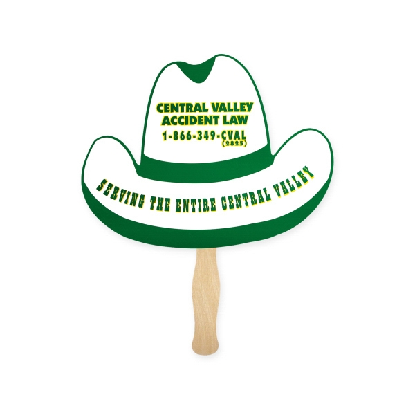 Promotional Fan - Stock Shape Cowboy Hat Hand Fan