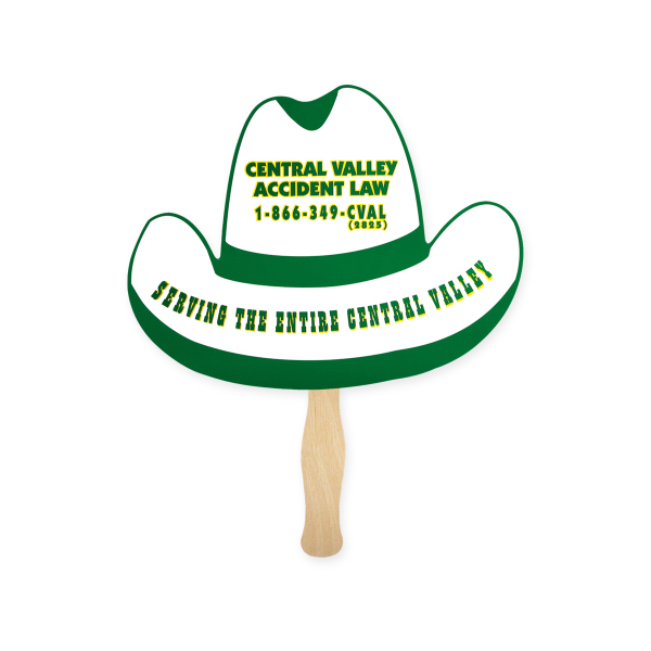 Customized Stock Shape Cowboy Hat Hand Fan, Sandwich Style