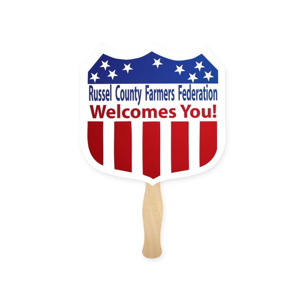 Personalized Stock Shape Shield Hand Fan, Sandwich Style
