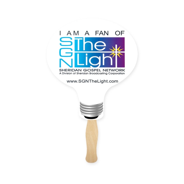 Personalized Stock Shape Light Bulb Hand Fan, Sandwich Style