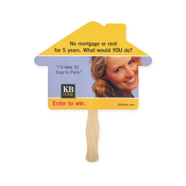 Printed Stock Shape House Hand Fan, Sandwich Style