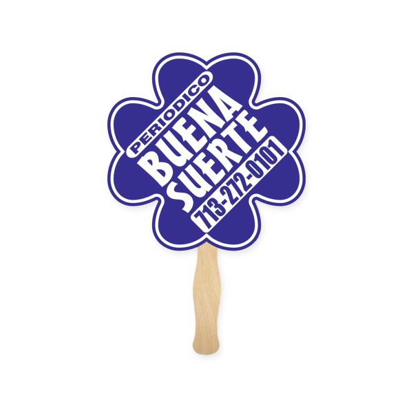 Personalized Stock Shape Clover Hand Fan, Sandwich Style
