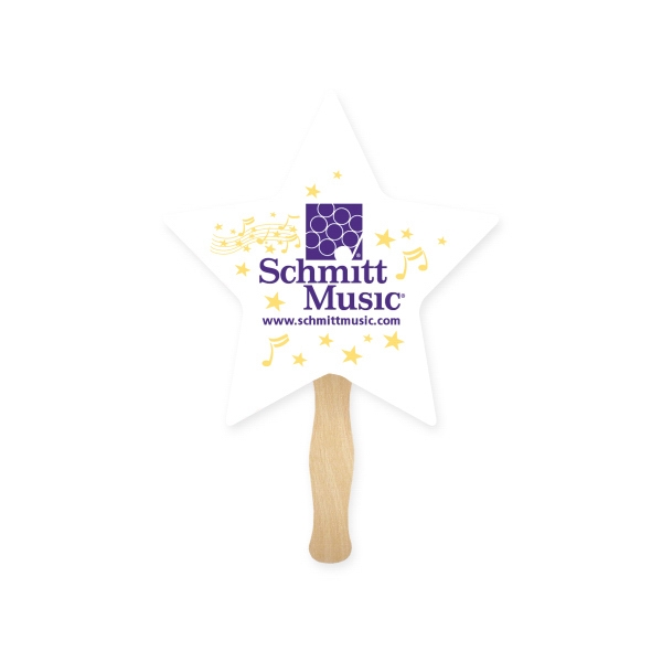 Personalized Stock Shape Star Hand Fan, Sandwich Style