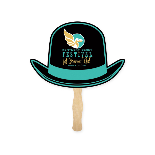 Promotional Stock Shape Derby Hat Hand Fan, Sandwich Style