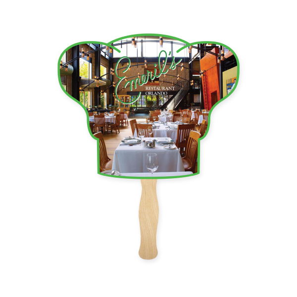 Imprinted Fan - Stock Shape Chef Hat Hand Fan