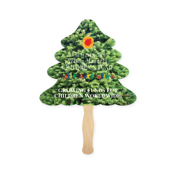 Imprinted Stock Shape Evergreen Tree Hand Fan, Sandwich Style