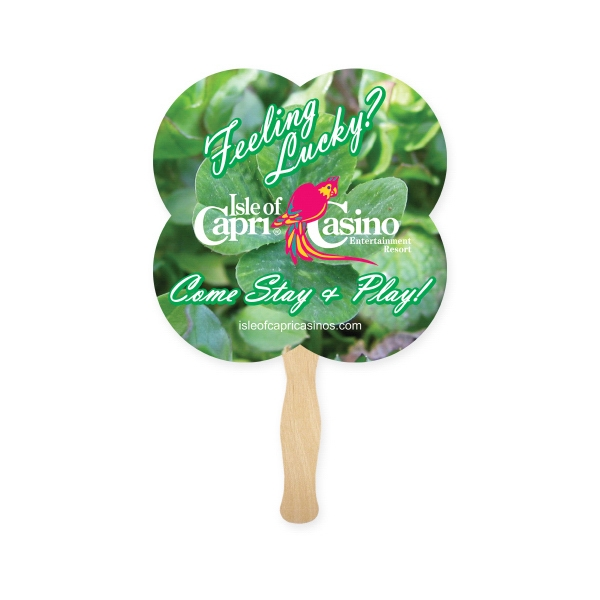 Imprinted Stock Shape Clover Hand Fan, Sandwich Style