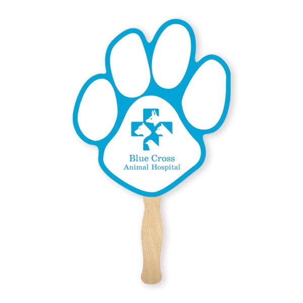 Imprinted Fan - Stock Shape Paw Hand Fan