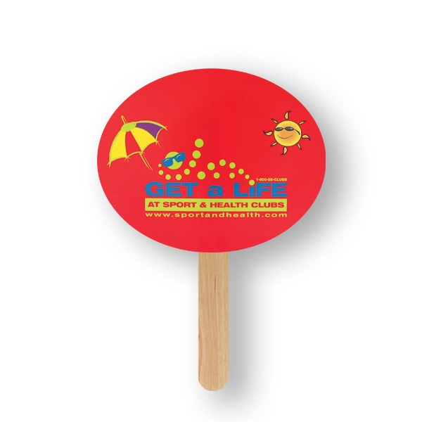 Customized Mini Hand Fan - Oval, Sandwich Style