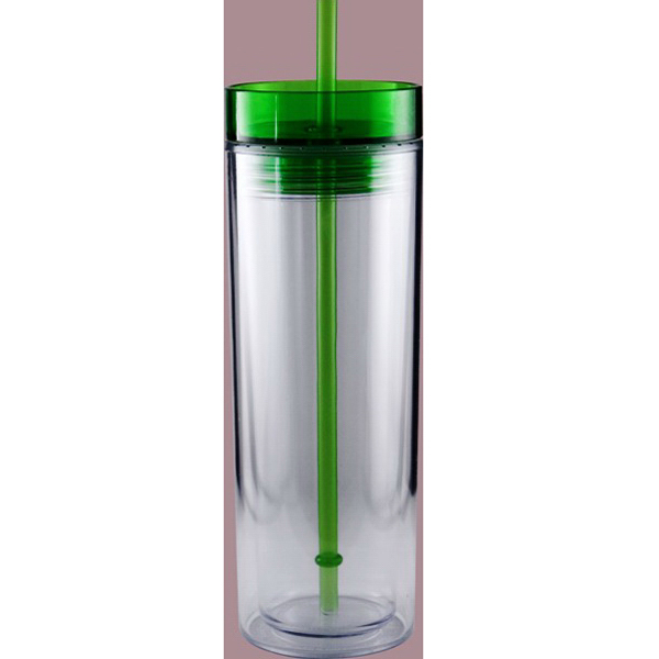 Printed Acrylic Double Wall Tumbler with Straw
