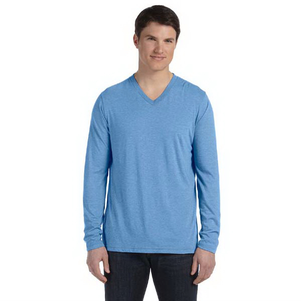 Custom Bella & Canvas Men's Triblend Long Sleeve V-Neck T-Shirt