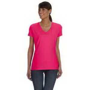 Custom Fruit of the Loom Ladies' 100% Heavy Cotton HD (TM) V-Neck T