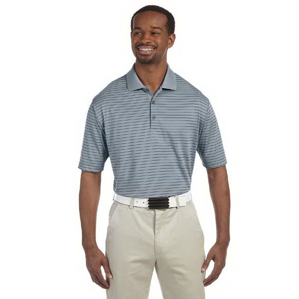 Custom Adidas Gold Men's ClimaLite Pencil Stripe Polo