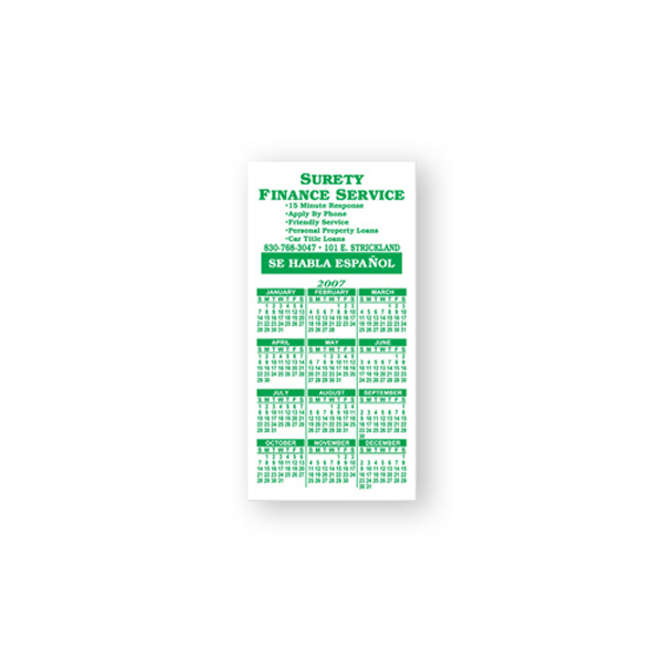 Imprinted Magnet Calendar, 2 inches x 4 inches