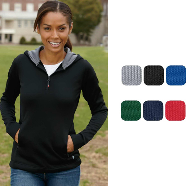 Personalized Russell Athletic Ladies' Tech Fleece 1/4 Zip Pullover Hood
