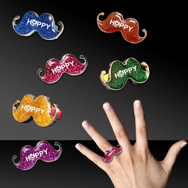 Printed 1 1/2 Inch Glitter Mustache Ring