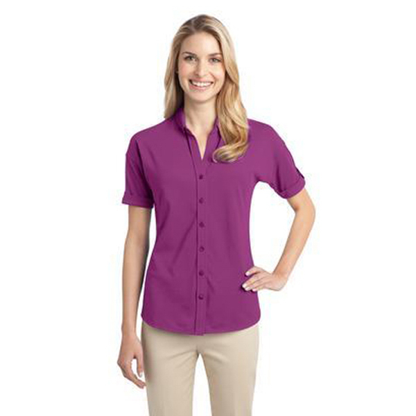 Customized Port Authority - Ladies' Stretch Pique Button-Front Shirt