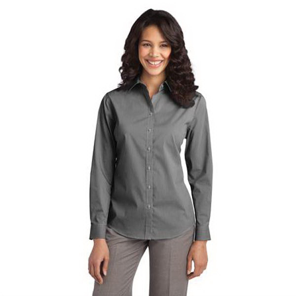 Printed Port Authority - Ladies Fine Stripe Stretch Poplin Shirt