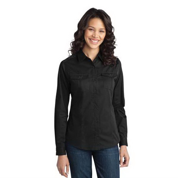 Customized Ladies' Stain-Resistant Roll Sleeve Twill Shirt