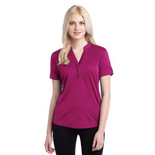 Personalized OGIO (R) Gaze henley top with with reverse self-fabric cuffs