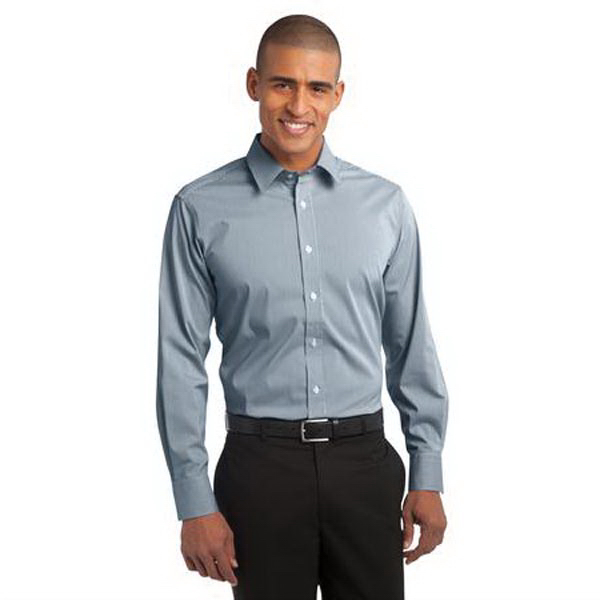 Printed Port Authority - Fine Stripe Stretch Poplin Shirt