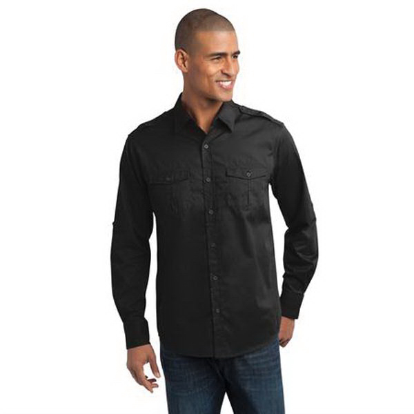 Printed Port Authority - Stain-Resistant Roll Sleeve Twill Shirt
