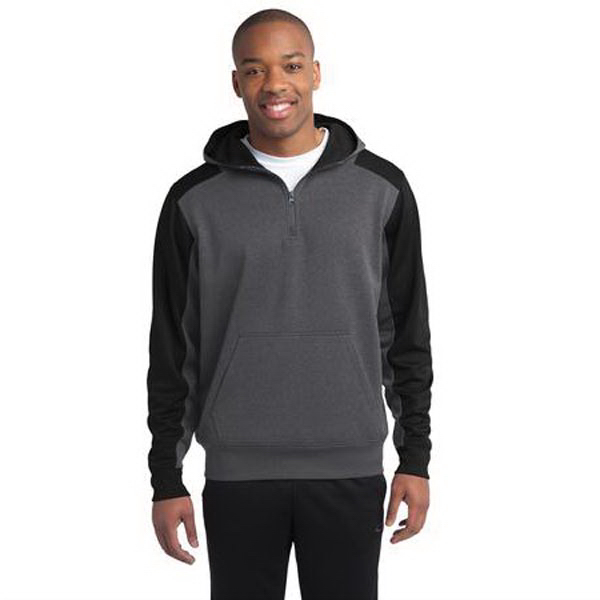 Personalized Sport-Tek - Colorblock Tech Fleece 1/4-Zip Hooded Sweatshirt