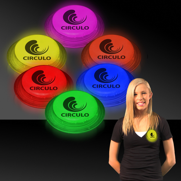 "Customized 3"" Self-Adhering Circle Shaped Glow Badge"