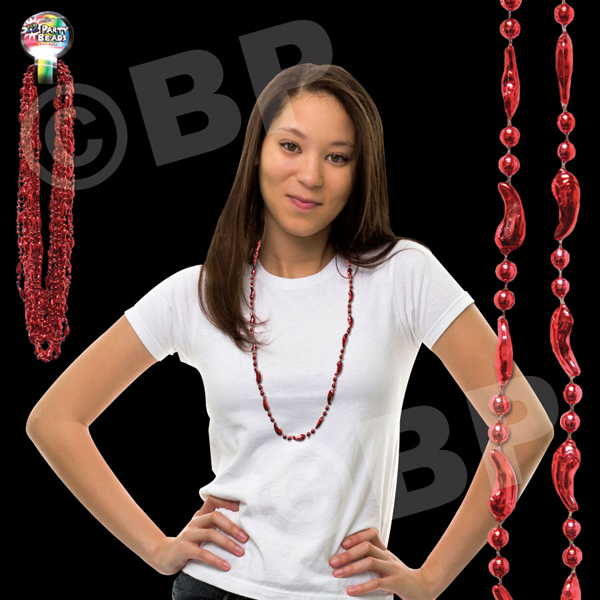 "Custom 33"" Metallic Red Chili Pepper Beaded Necklace"
