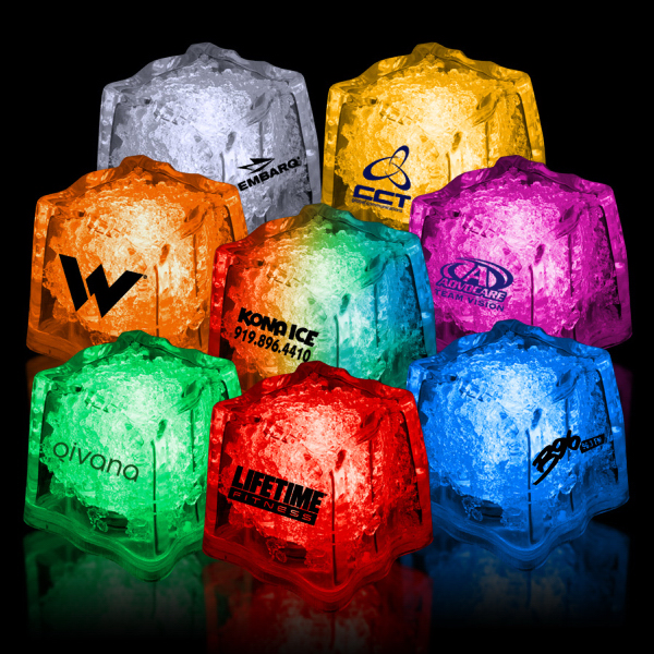 "Imprinted 1 3/8"" Premium Light-Up Glow Cube (Red, Yellow, Orange)"