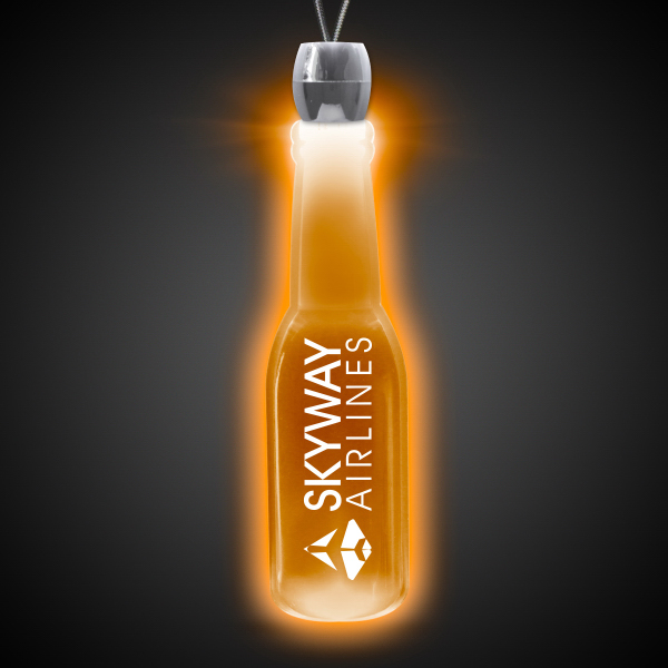 Promotional Round Bottle Amber Light-Up Acrylic Pendant Necklace