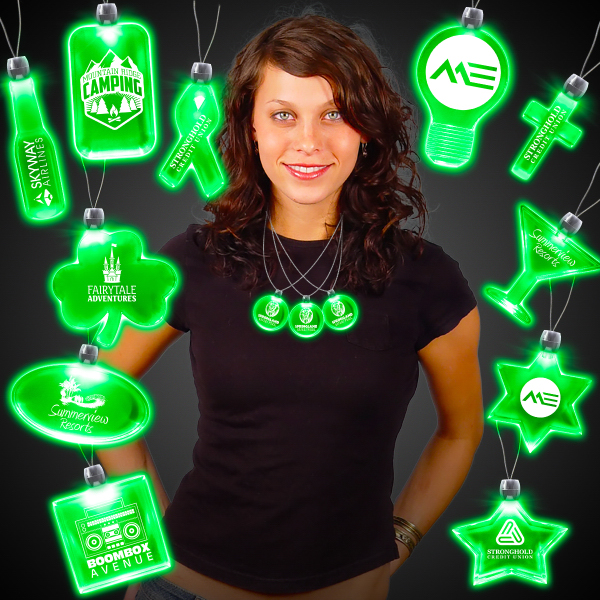 Custom Green Light-Up Acrylic Pendant Necklace