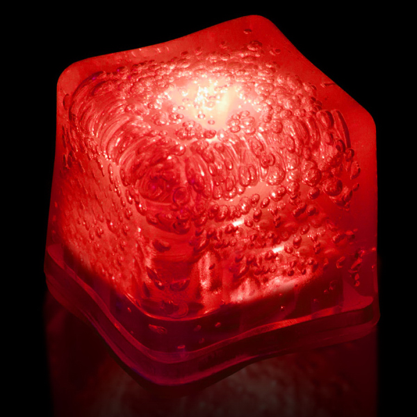 Custom Red Light Up Premium LitedIce Brand Ice Cube, Blank