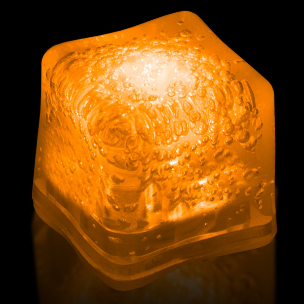 Custom Orange Light Up Premium LitedIce Brand Ice Cube, Blank