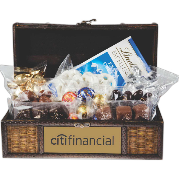 Printed Wooden Executive Treasure Chest w Assorted Candy & Chocolate