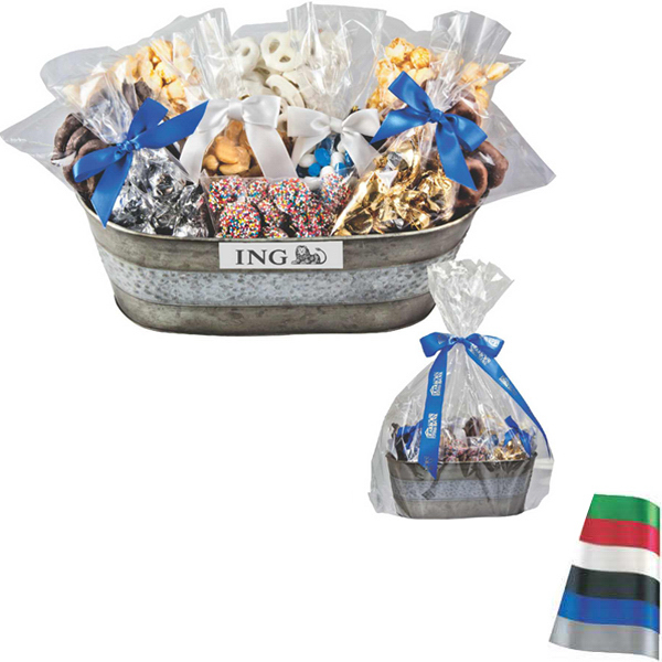 Custom Gourmet Gift Tub with Assorted Candy and Chocolate