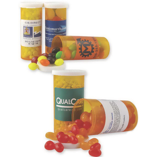 Printed Promo Pill Bottle Filled with Jelly Beans (Assort.)