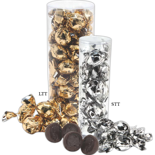 Imprinted Twist Wrapped Decadent Truffle Gift Tube