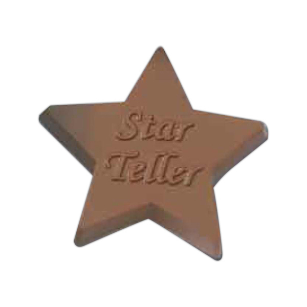 Customized Cello sealed 2 1/2 oz. star shaped chocolate