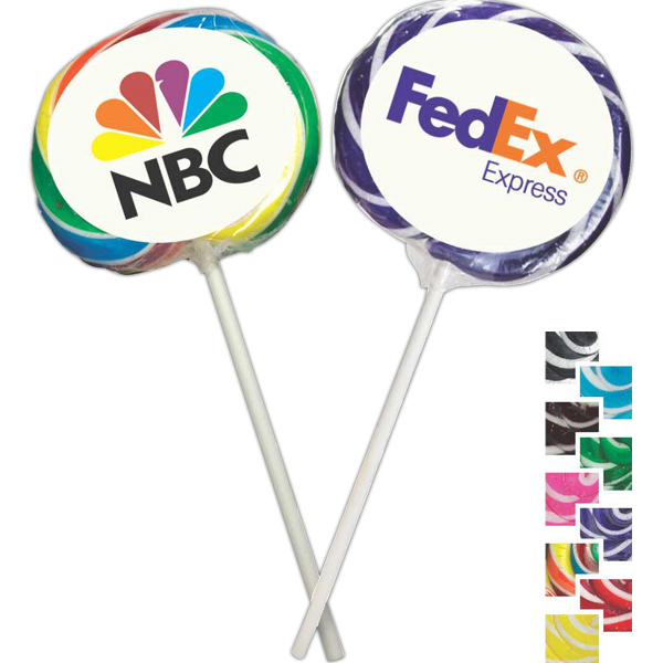 Imprinted Two-Tone Whirly Pops Lollipops with Digital Label