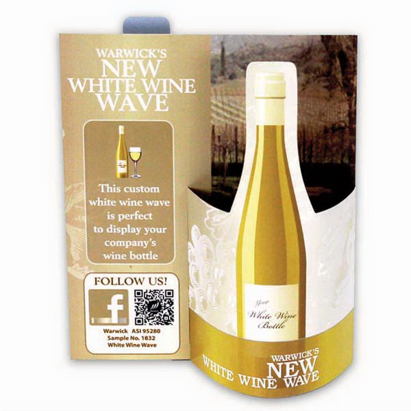 Promotional White Wine Wave 3D Table Tent