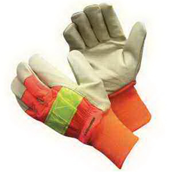 Custom Hi-Vis Pigskin Glove With Knit Wrist