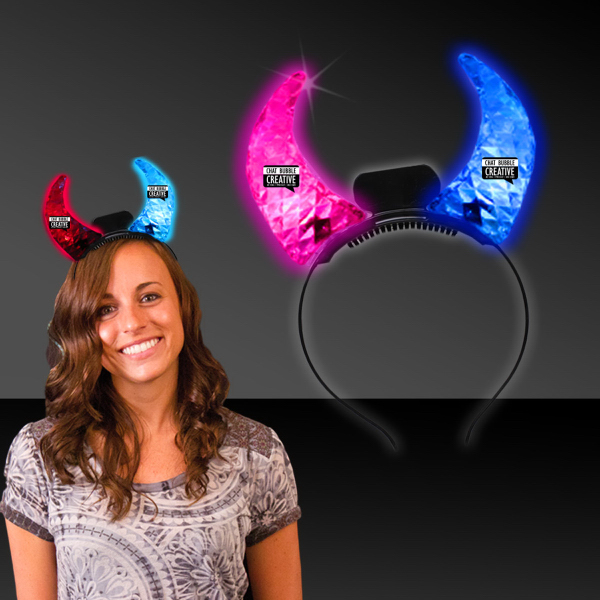Printed Light Up LED Glow Crystal Devil Horns