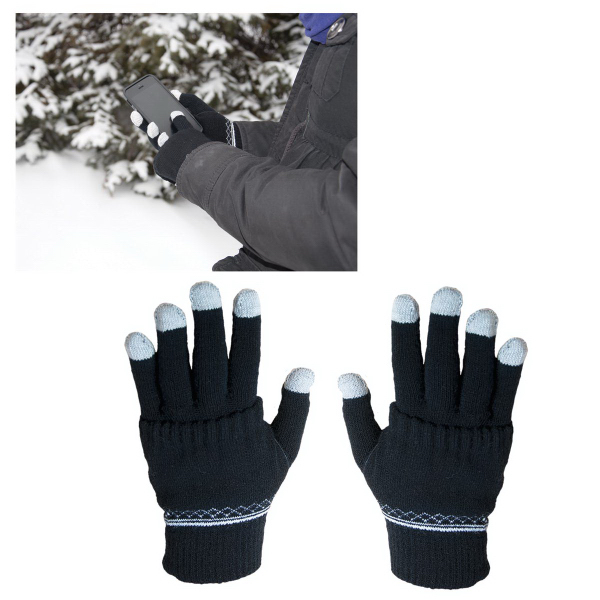 Imprinted E-Z Import (TM) Touch Screen Gloves with Glove Covers