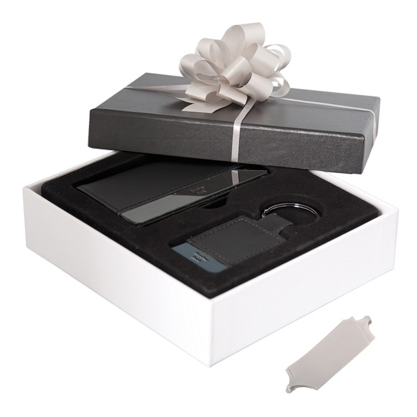 Imprinted Black Label Card and Key Holder Gift Set
